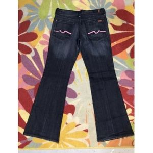 7 For All Mankind Flare Dark Wash Pink Signature